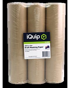 iQuip Kraft Masking Paper 144mm x 50m 3 Pack