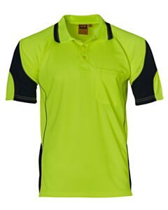 ALLIANCE SHORT SLEEVE SAFETY POLO-Yellow Navy